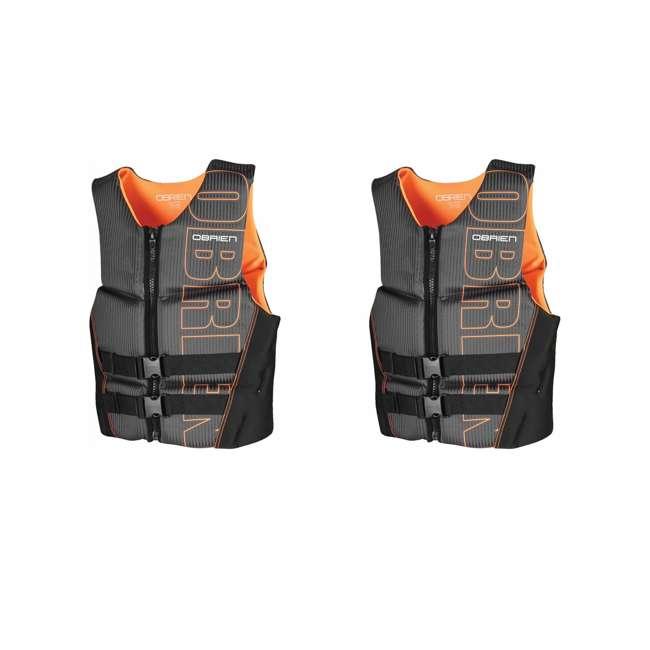 2161735-MW OBrien BioLite Series Men's Flex Life Vest M, Black/Orange (2 Pack)