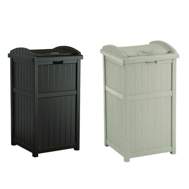 GH1732J + GH1732 Suncast Trash Hideaway Outdoor Patio 33 Gallon Trash Can Bin, 1 Java and 1 Taupe