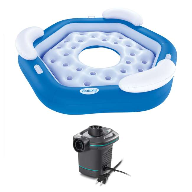 43111E-BW + 66639E Bestway 3-Person Floating Water Island Lounge Raft + AC Electric Air Pump