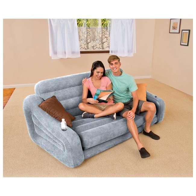 68566VM + 66639E Intex Queen Inflatable Pull Out Sofa w/ Electric Air Pump 1