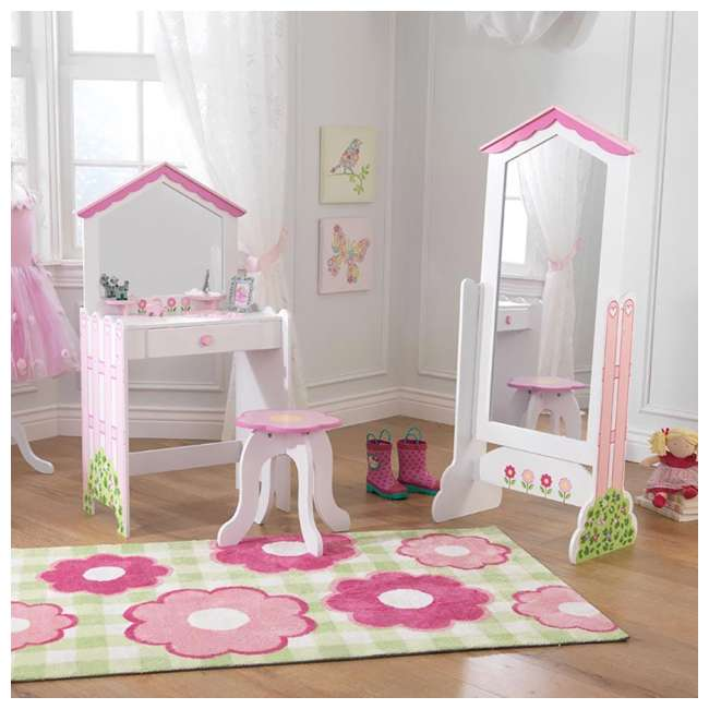 13035 KidKraft 13035 Durable Wooden Dollhouse Vanity and Seat Stool with Mirror, Pink 2