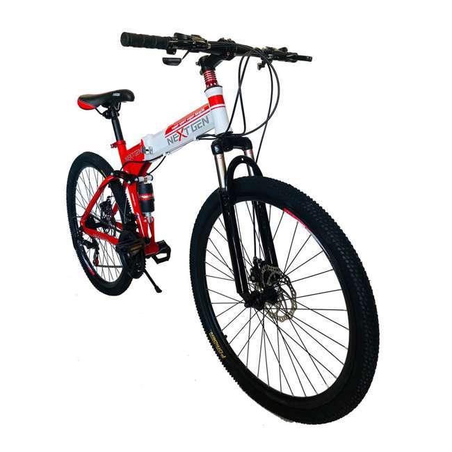 "MTB014-R NextGen 26"" 21 Speed Shimano Foldable Adult Hardtail Downhill Mountain Bike, Red 3"