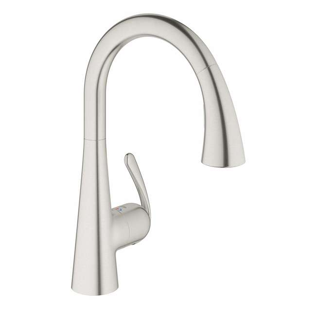 32298SD1-OB Grohe Ladylux Single-Handle Pull-Out Kitchen Faucet with Steel Finish(OPEN BOX)