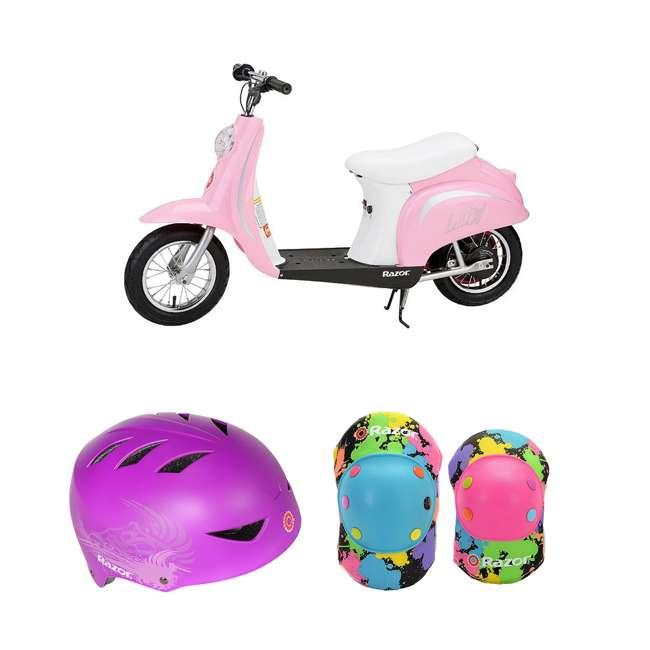 15130610 + 97973 + 96761 Razor Pocket Mod Electric Retro Scooter + Youth Sport Helmet + Elbow & Knee Pads