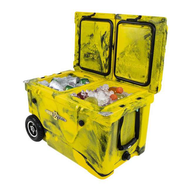 HC50-17YB WYLD HC50-17OB 50 Qt. Dual Compartment Insulated Cooler w/ Wheels, Yellow/Black 3