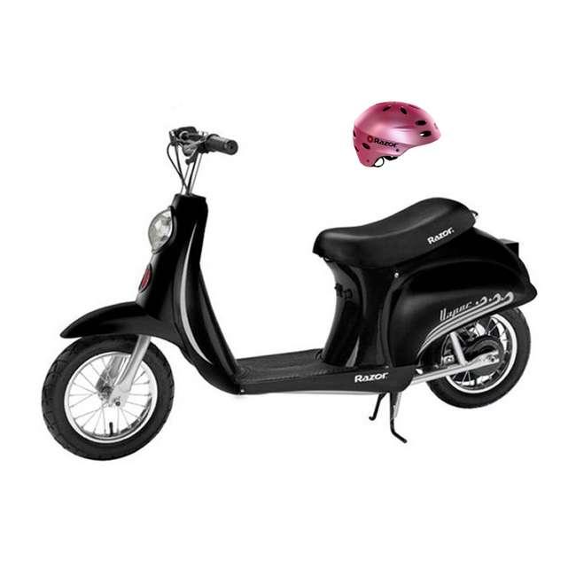 15130601 + 97783 Razor Pocket Mod Miniature Euro 24V 250W Kids Electric Motor Scooter & Helmet