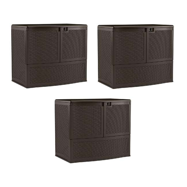 3 x VDB19500J Suncast 195 Gal Resin Wicker Patio Storage & Entertaining Station, Java (3 Pack)