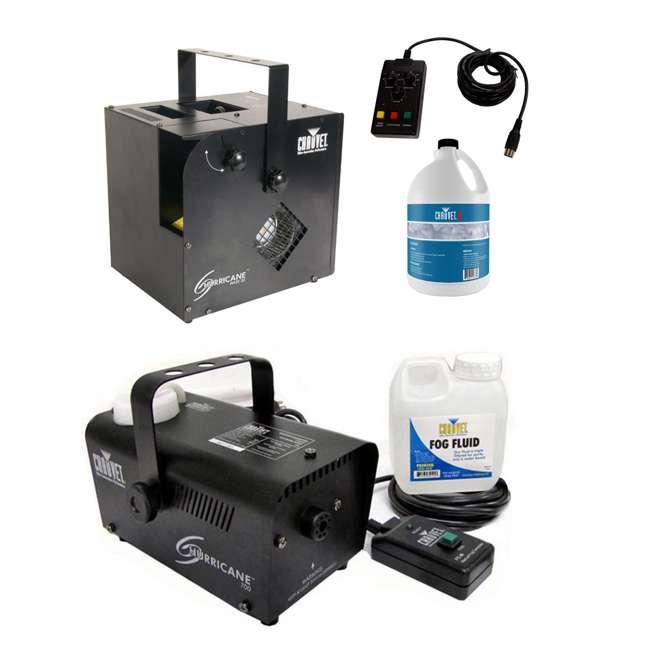 HURRICANE-HAZE2D + H700 + FJU Chauvet DJ Hurricane Haze 2D & Hurricane Pro Fog Machines w/ Fog Fluid & Remotes