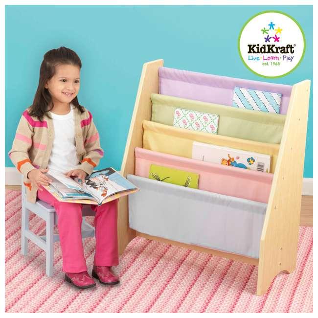 14225-U-D KidKraft Wood & Canvas Sling Shelf Kids Book Case Shelf - Pastel (Damaged) 1