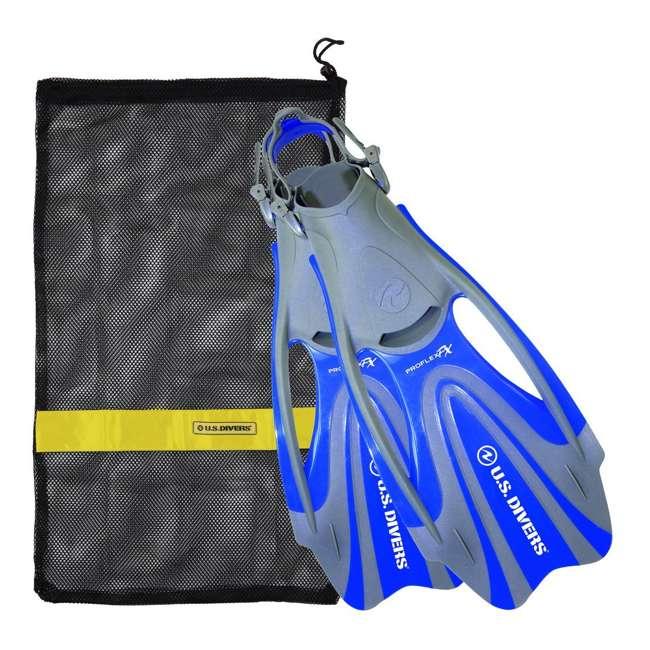 FA328O4015L U.S. Divers Proflex FX Snorkeling Set Size Large Diving Fins w/ Mesh Bag, Blue