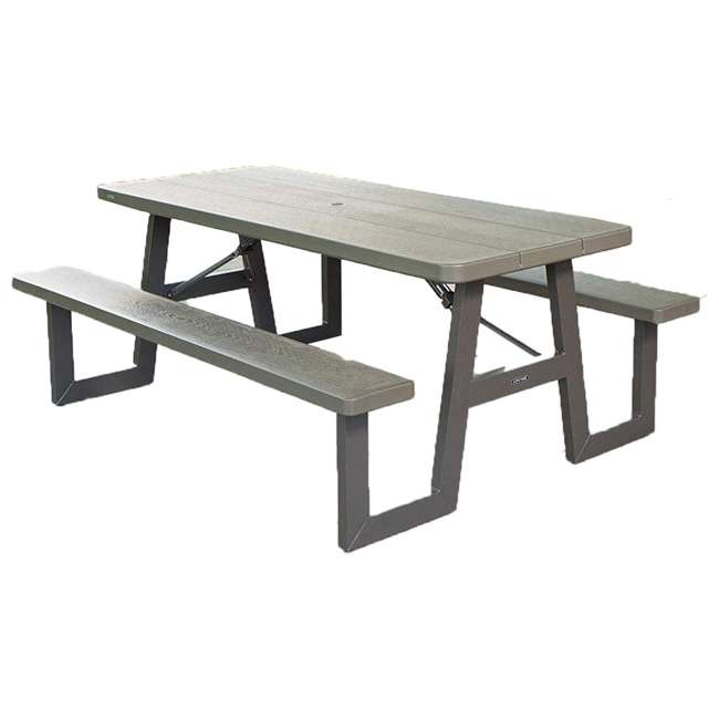 LIF-60233 Lifetime 60233 6-Foot W-Frame Outdoor Folding Picnic Table, Brown 2