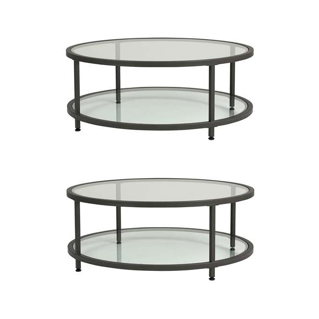 STDN-71003 Studio Designs Home Contemporary Camber Round Glass Coffee Table (2 Pack)
