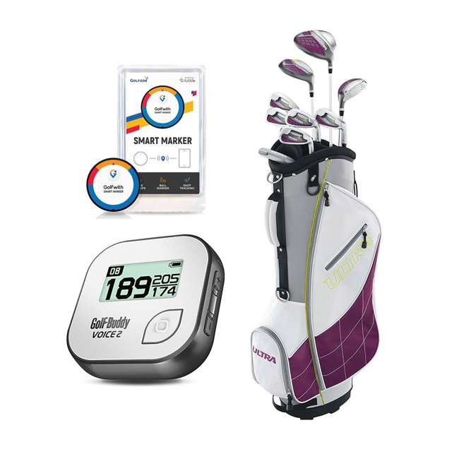 WGGC43400 + GB7-VOICE2-GREY + PGSMGps Wilson Womens Club Set w/Bag, Talking GPS Range Finder, Distance Tracker