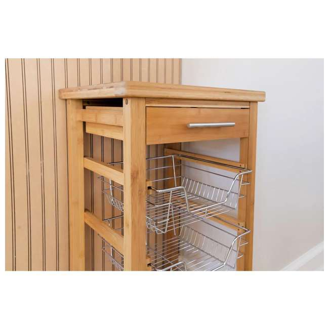 CSK-007 SpaceMaster Bamboo Kitchen Cart with Sliding Drawer 4