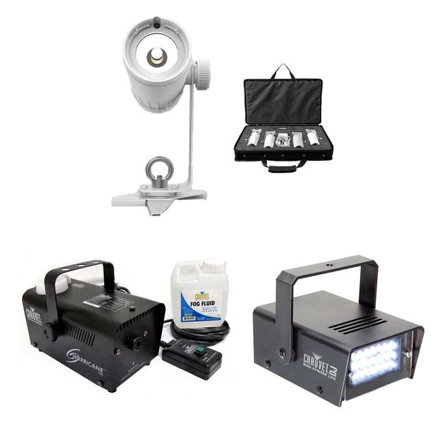 EZPIN-PACK4 + H700 + MINISTROBE-LED Chauvet DJ 4 Pack Spot + Fog Machine + Mini Strobe