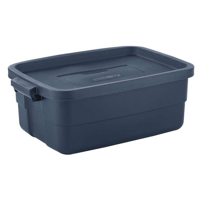 RMRT100015-6pack Rubbermaid Roughneck 10 Gallon Storage Tote, Dark Indigo Metallic (6 Pack)