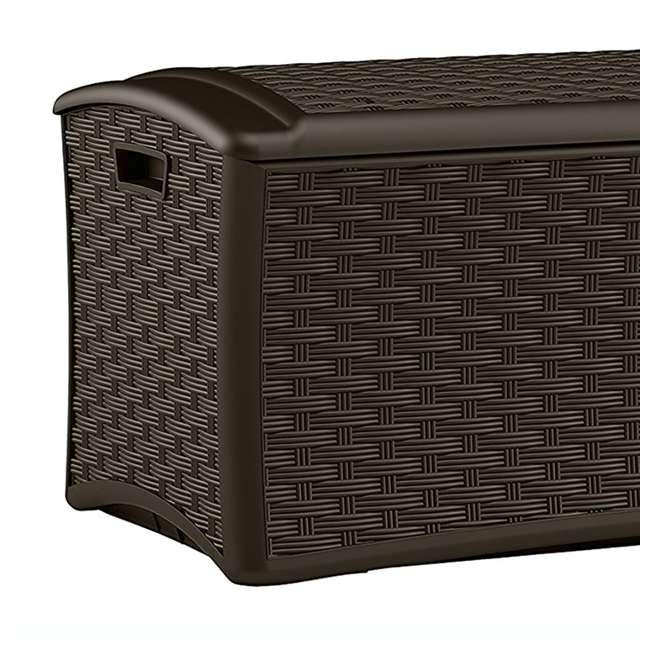 12 x DBW7000 Suncast 72-Gallon Capacity Resin Wicker Patio Storage Box, Brown (12 Pack) 3