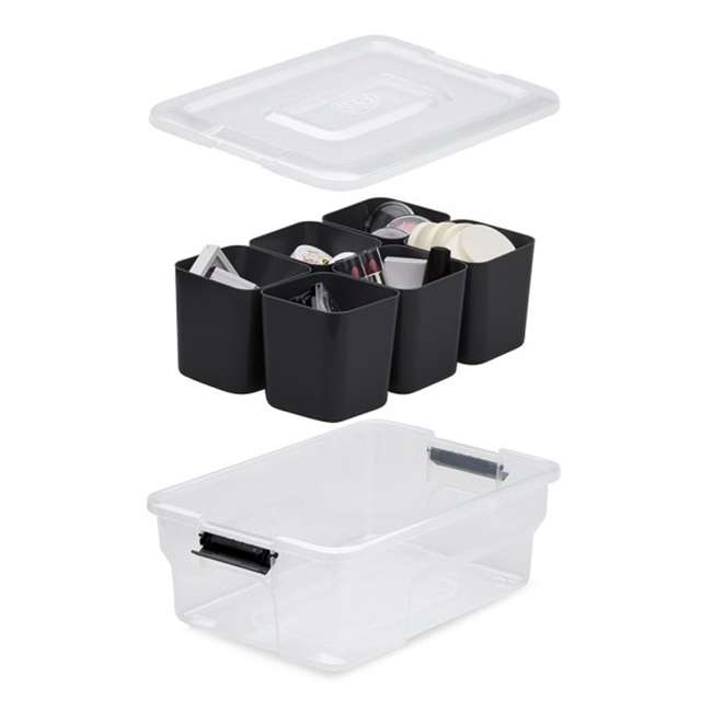 9 x FBA32236 Ezy Storage Sort It 5 Liter Stacking Container Box with Removable Cups (9 Pack) 3