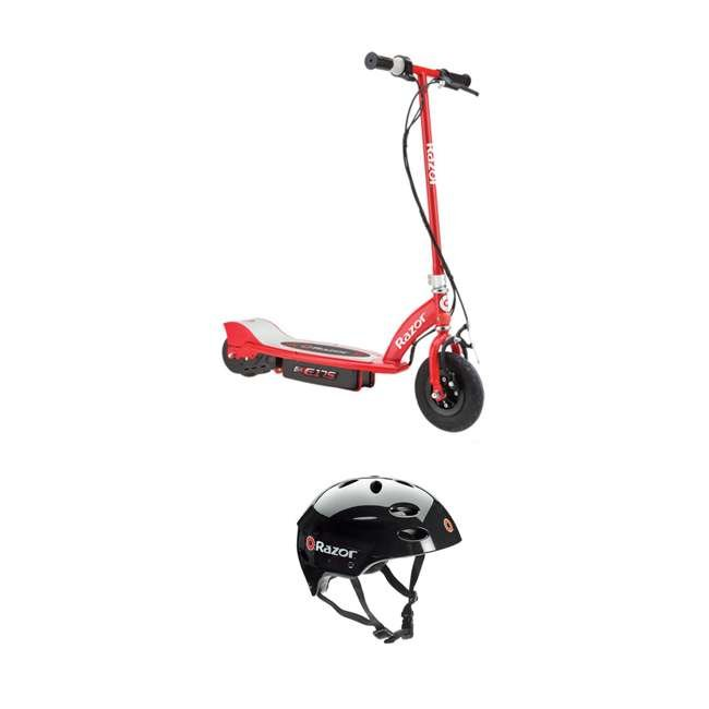13111259 Razor E175 Rechargeable Electric Power Kids Scooter and V17 Helmet, Red & Black