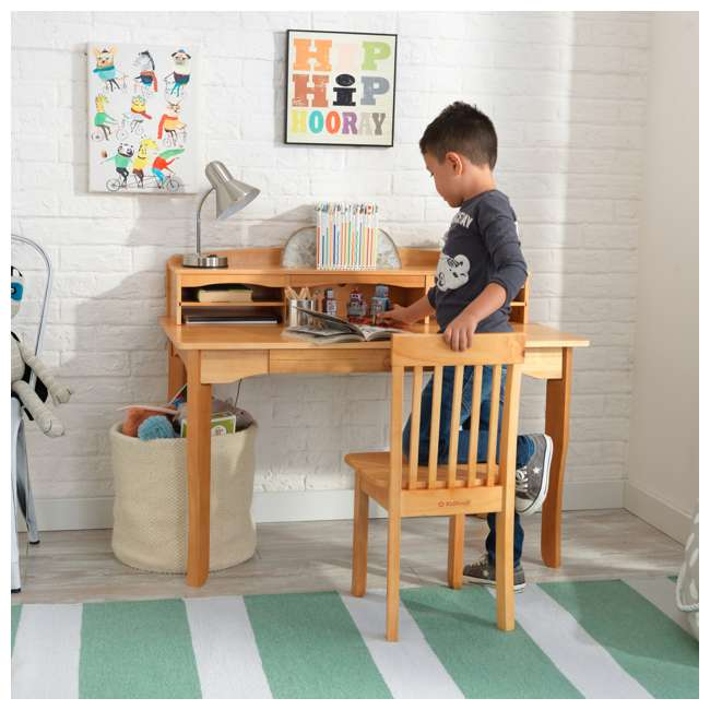 26707 KidKraft Avalon Wooden Kids Room Study Desk with Hutch & Chair Set, Natural 3
