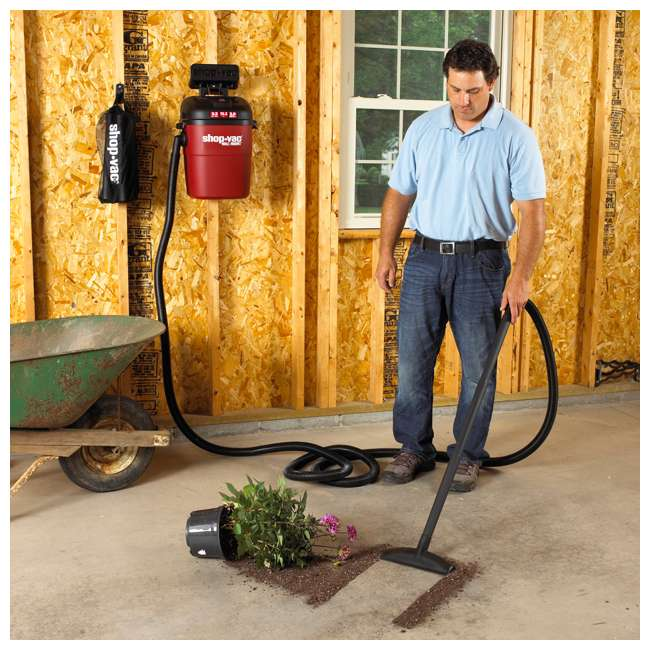 3940100 Shop Vac Wall Mount Portable 3.5 Gallon Wet Dry Vacuum Cleaner w/ 18 Foot Hose 5