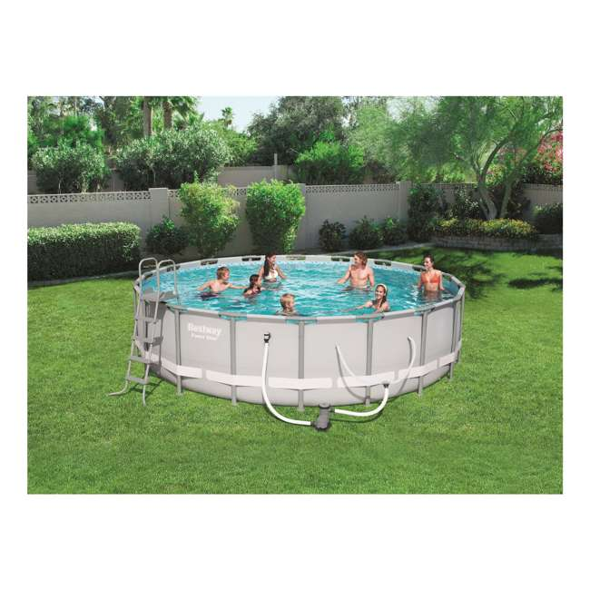 56399E-BW Bestway 18 x 4.3 Foot Reinforced Steel Frame Above Ground Swimming Pool (2 Pack) 3