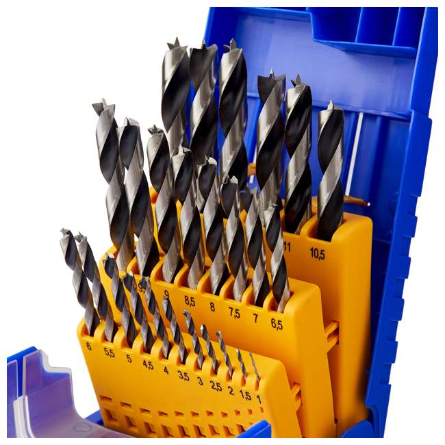 FSF-364740 Fisch 25 Piece Chrome Vanadium Steel Brad Point Drill Bit Set for Woodworking 3