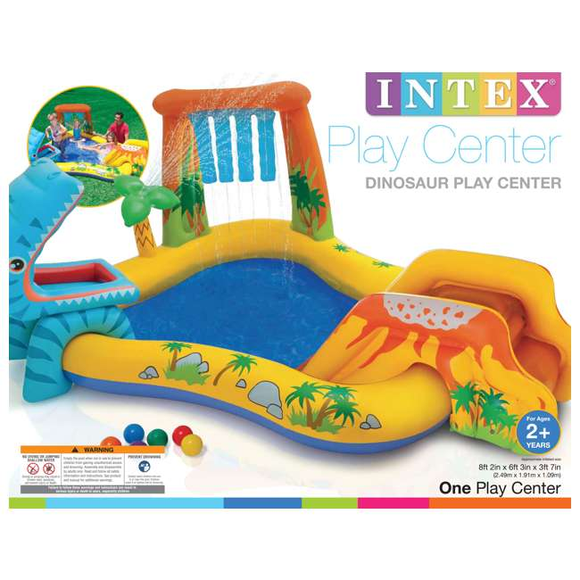 "57444EP + 57470EP Intex 8' x 6.25' x 43"" Dinosaur Play Center w/ 5' x 48"" Kids Swimming Pool 4"