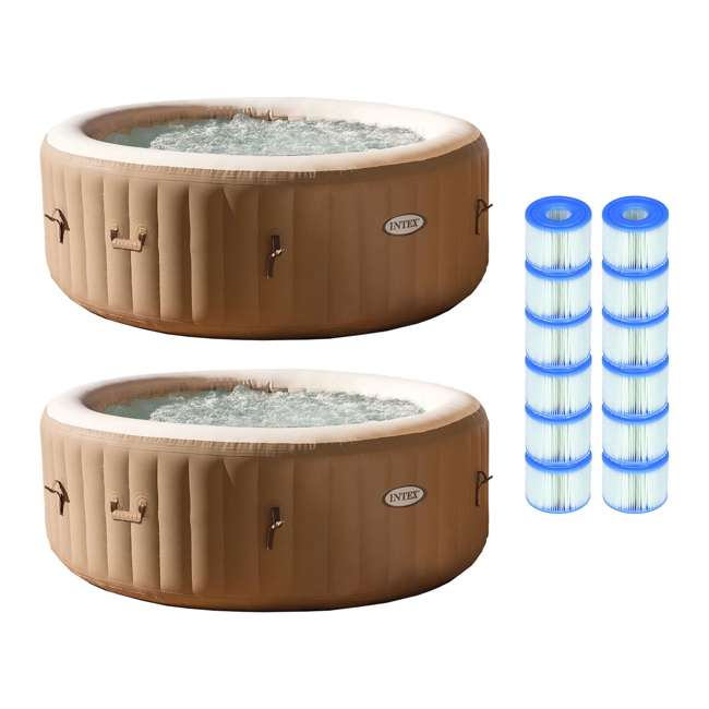 28403E + 6 x 29001E Intex PureSpa 4-Person Inflatable Hot Tub (2 Pack) & S1 Filters (12 Filters)