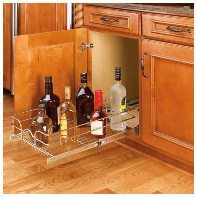 5WB1-2122-CR Rev-A-Shelf 21 Inch Wide 22 Inch Deep Base Kitchen Cabinet Pull Out Wire Basket 2