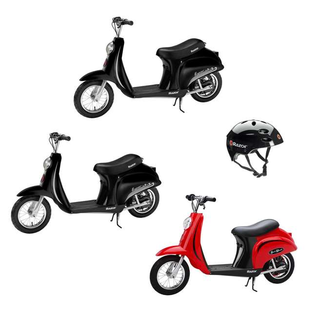 15130656 + 2 x 15130601 + 97778 Razor Pocket Mod Miniature Electric Scooters, 1 Red & 2 Black + 1 Helmet