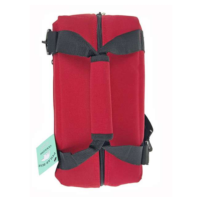 PB 123 Polar Bear Coolers 12 Pack Light Nylon Soft Cooler with Strap, Red 3