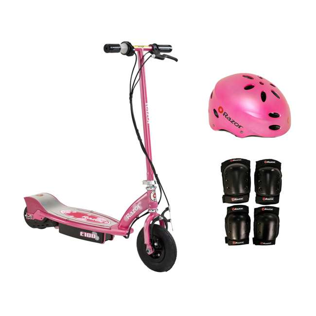 13111263 + 97783 + 96784 Razor E100 Electric Motorized Scooter, With Child Helmet, Elbow & Knee Pad Set