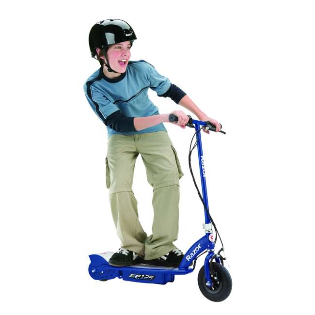 13111141 + 97780 Razor E125 Motorized 24-Volt Rechargeable Electric Scooter, Navy + Razor V17 Childrens Helmet, Black 3