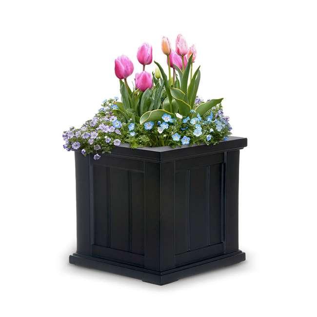 MO-4836-B Mayne Cape Cod Large 14 In Square Plastic Outdoor Flower Pot Planter Box, Black