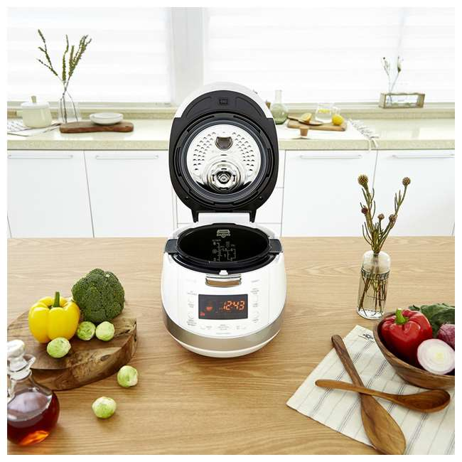 CRP-HS0657FW Cuckoo Electronics Stainless Steel 6 Cup Electric Pressure Rice Cooker, White 3