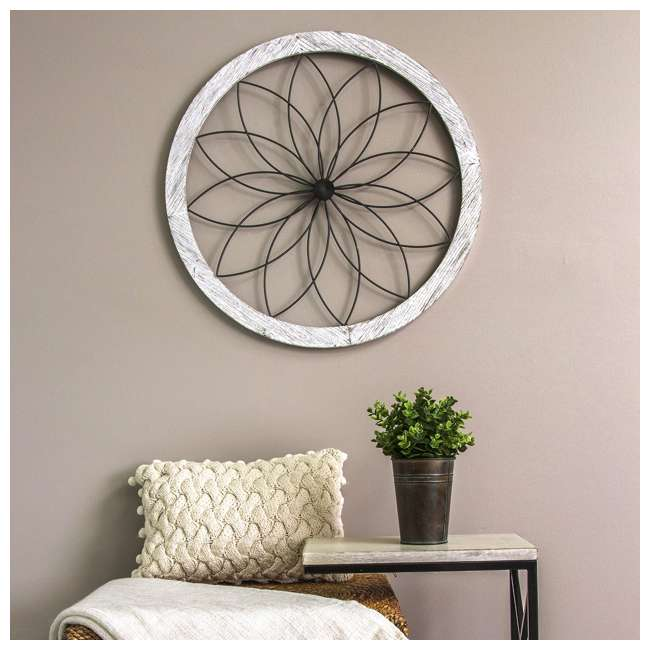 S09601 Stratton Home Decor Metal and Wood Art Deco Flower Wall Decor, Distressed White 3