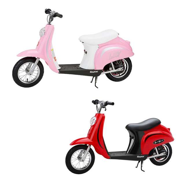 15130656 + 15130610 Razor Pocket Mod Miniature Electric Scooters, 1 Red & 1 Pink