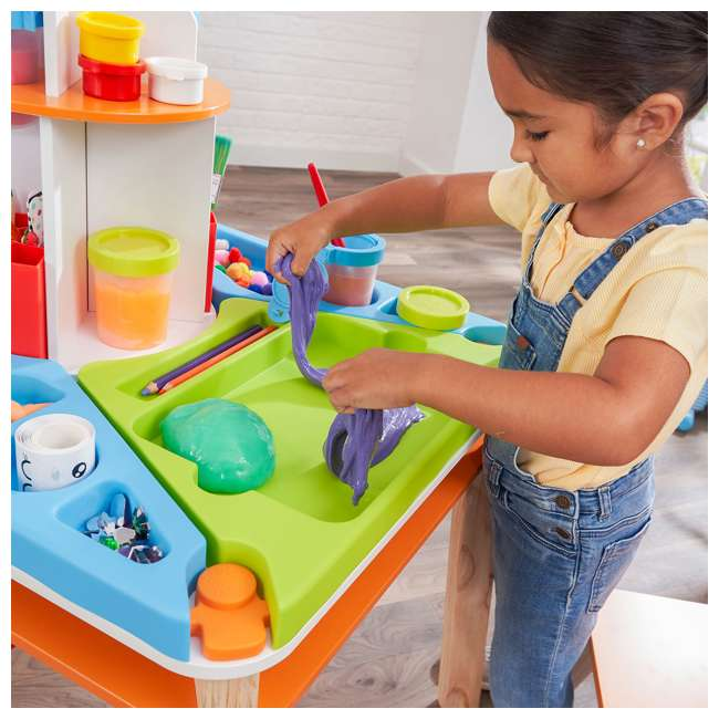 10091 Kidcraft 10091 Ultimate Creation Station Kids Activity Art Table with Two Stools 7