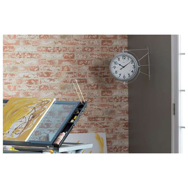 73013 Studio Designs Metro Station 18 Inch Dual Face Clock and Thermometer, Silver 2