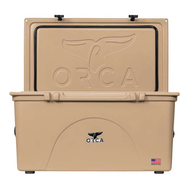 ORCT140 Orca ORCT140 140 Quart 35 Gallon Roto Molded Insulated Outdoor Ice Cooler, Tan 4