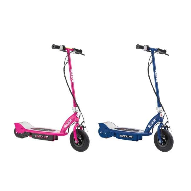13111269 + 13111141 Razor E175 & E125 Kids 24V Motorized Battery Powered Scooter Toy, Pink & Blue