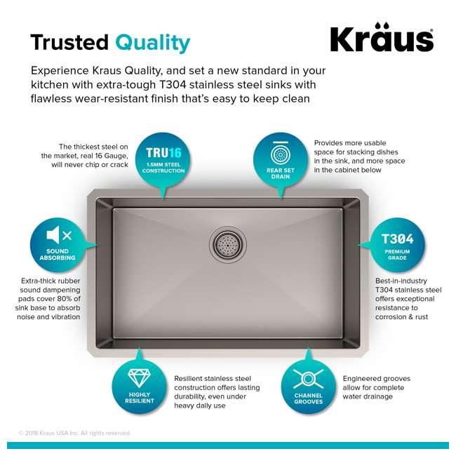 "KHU100-30-OB KRAUS Standart PRO 30""  Undermount Single Stainless Steel Sink (OPEN BOX) 4"