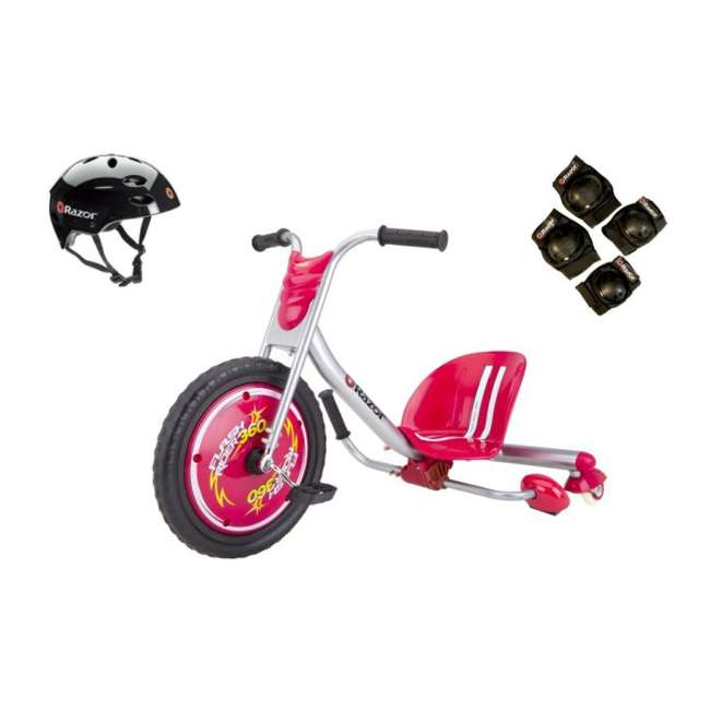20036559 + 97778 + 96771 Razor Flash Rider 360 Ride-on Tricycle with Helmet, Elbow & Knee Pads