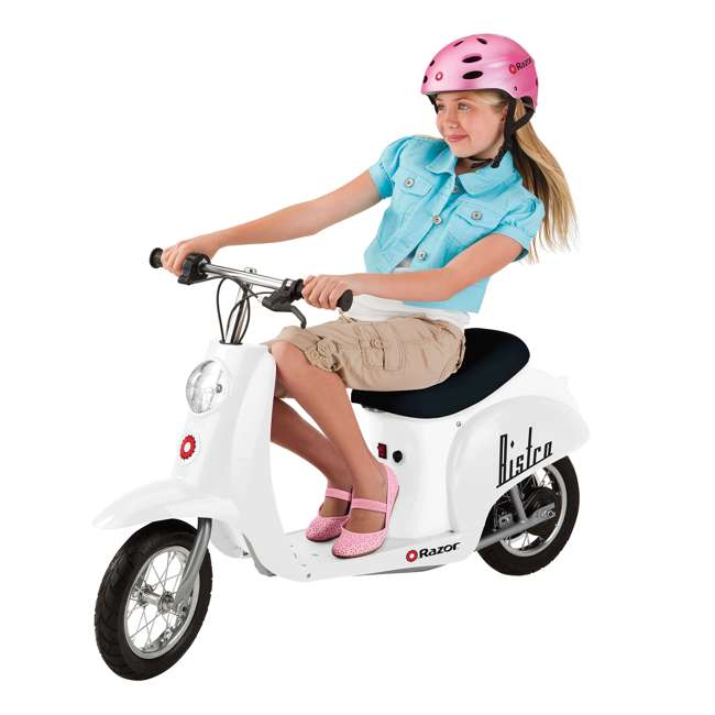 15130608 + 97778 + 96784 Razor Pocket Mod 24V Electric Retro Scooter, Kids Helmet, & Elbow & Knee Pads 2