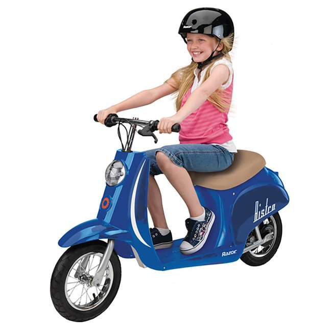15130641 + 97780 Razor Pocket Mod Electric Motor Retro Kids Scooter, Blue & Helmet 3