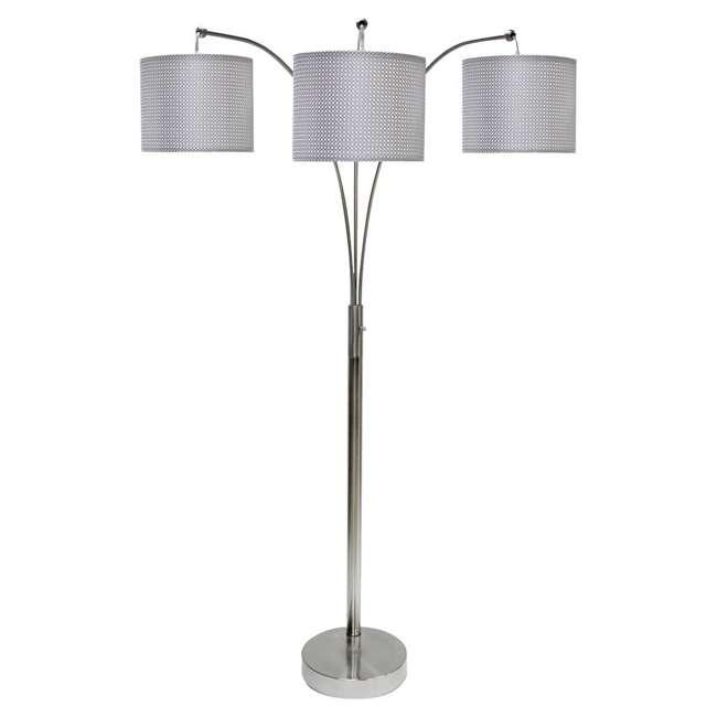 SC-L7-1001-U-A StyleCraft 64 Inch Steel Floor Lamp 3 Arm Arc with Shades