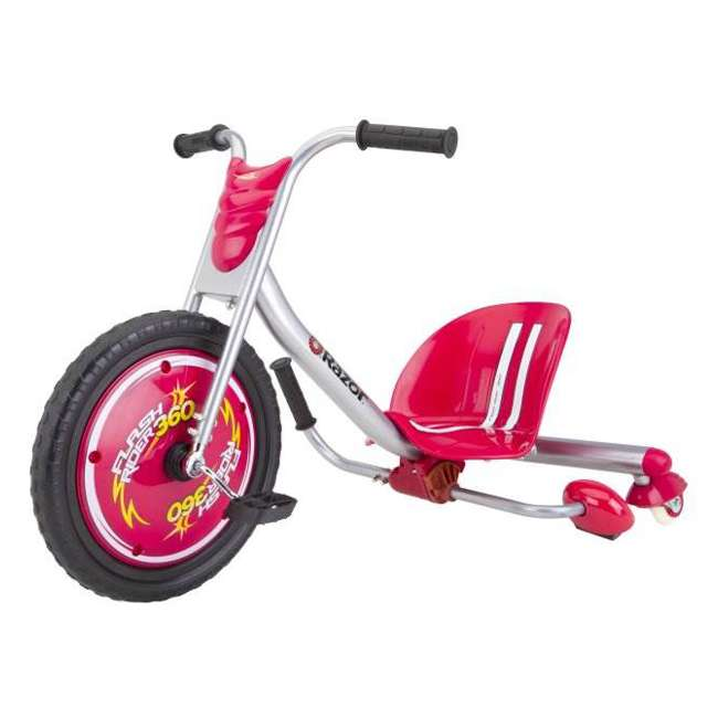 97778 + 20036559 Razor V17 Youth Skateboard/Scooter Sport Helmet & Drifting Ride-On Tricycle, Red 2