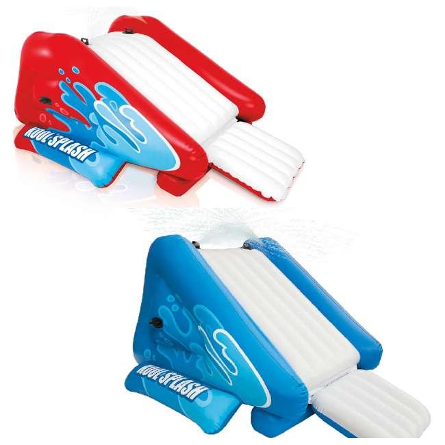 58849VM + 58849EP Intex Inflatable Pool Water Slide, Red & Intex Inflatable Pool Water Slide, Blue