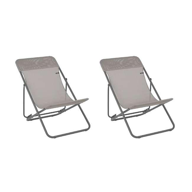 LFM2502-8556 Lafuma 2 Maxi Transat Folding Sling Chair Set, Terre